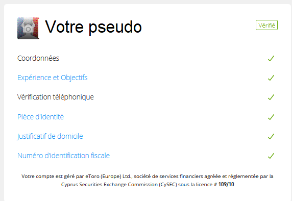 eToro verification compte